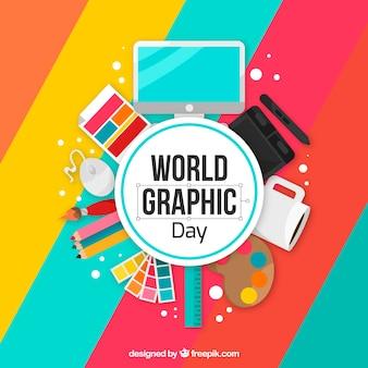 Fondo de día mundial de los gráficos con herramientas de trabajo