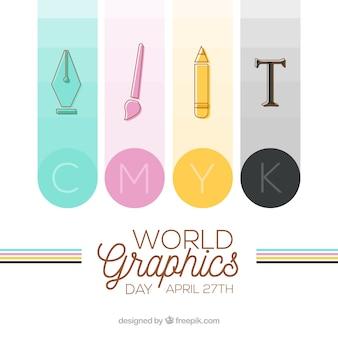 Fondo de día mundial de los gráficos con herramientas vector gratuito