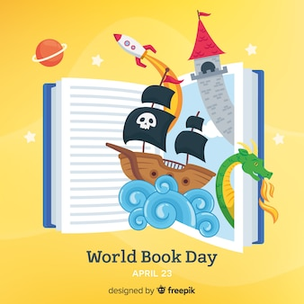 Fondo del día mundial del libro en diseño plano