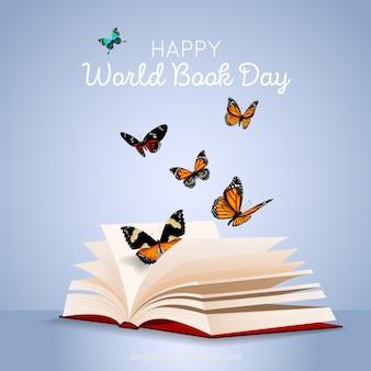 Fondo del día mundial del libro con mariposas en estilo realista