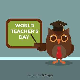 Fondo de día mundial del maestro con búho y pizarra