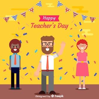 Fondo de día mundial del maestro con gente y confeti