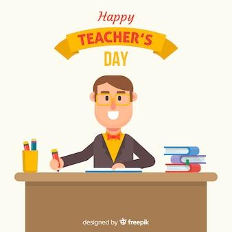 Fondo de día mundial del maestro con profesor en su mesa