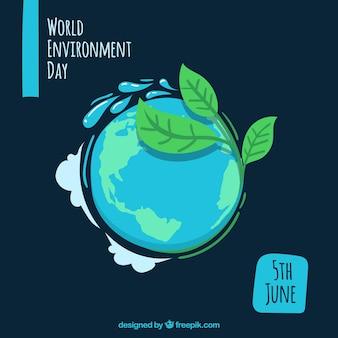Fondo del día mundial del medio ambiente con planeta y hojas