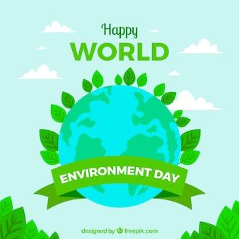 Fondo del día mundial del medioambiente con planeta tierra y hojas