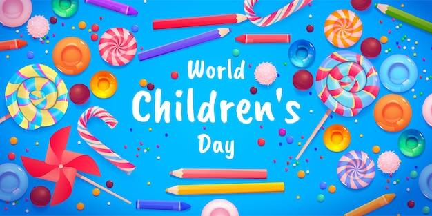 Fondo del día mundial de los niños de dibujos animados