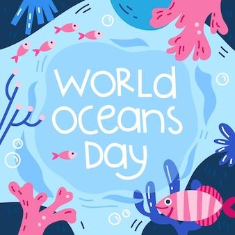Fondo del día mundial de los océanos dibujados a mano