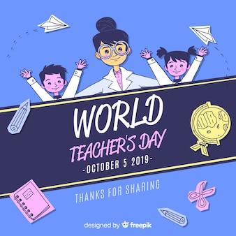 Fondo del día mundial del profesor en diseño plano
