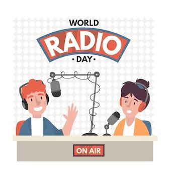 Fondo del día mundial de la radio dibujado a mano plana con presentadores