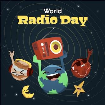 Fondo del día mundial de la radio dibujado a mano con planetas