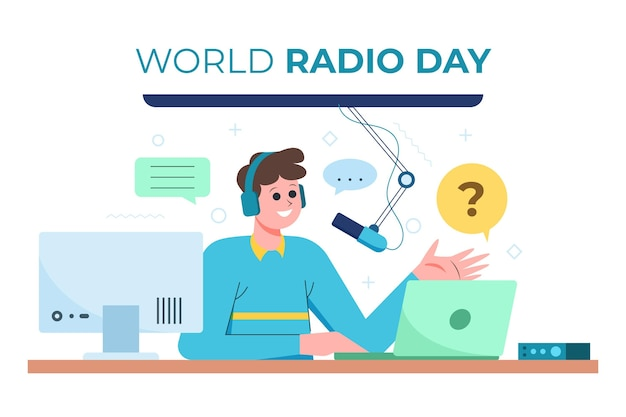 Fondo del día mundial de la radio en diseño plano con hombre