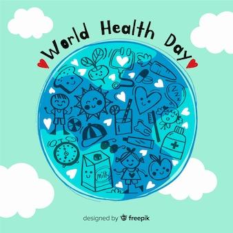 Fondo del día mundial de la salud dibujado a mano