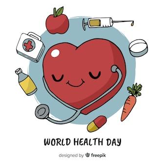 Fondo día mundial de la salud dibujado a mano