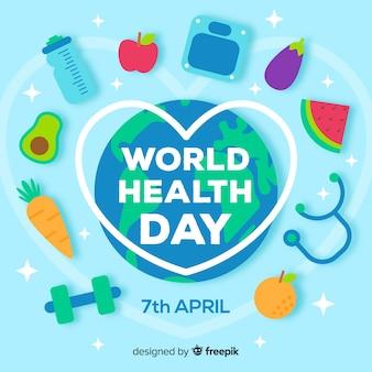 Fondo del día mundial de la salud en diseño plano