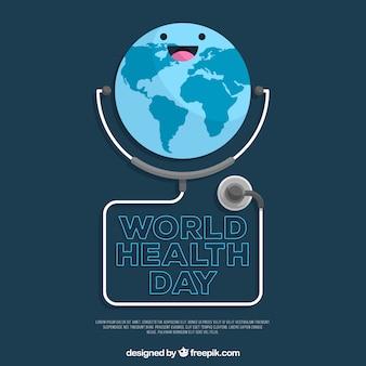 Fondo de día mundial de la salud con estetoscopio en estilo plano
