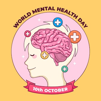 Fondo del día mundial de la salud mental dibujado a mano