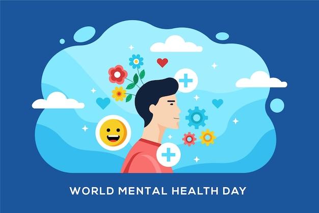 Fondo del día mundial de la salud mental en diseño plano