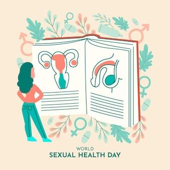 Fondo del día mundial de la salud sexual con mujer y libro