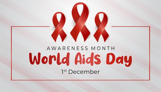 Fondo del día mundial del sida con cinta de estilo 3d en el cuadrado rojo, internacional, médico, fondo de concientización,