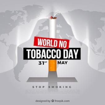 Fondo del día mundial sin tabaco con un cigarrillo sobre el mapa del mundo