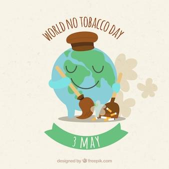 Fondo del día mundial sin tabaco con el globo terráqueo barriendo cigarrillos