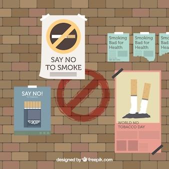 Fondo del día mundial sin tabaco con pared cubierta de pósteres
