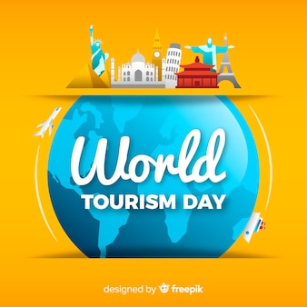 Fondo del día mundial del turismo con monumentos alrededor del mundo