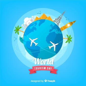 Fondo del día mundial del turismo con monumentos en diseño plano