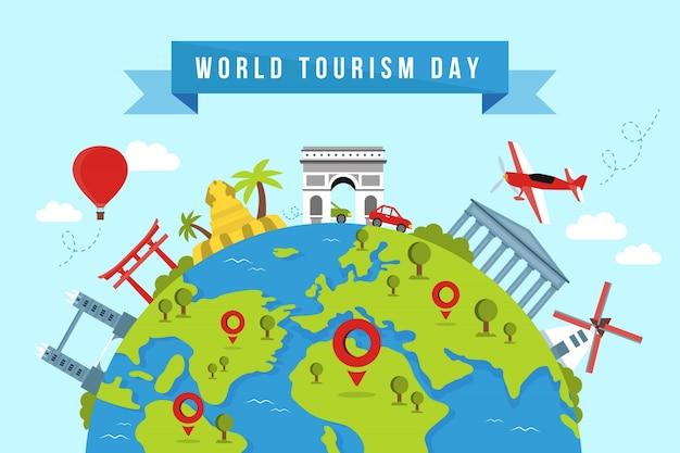Fondo del día mundial del turismo con monumentos y transportes