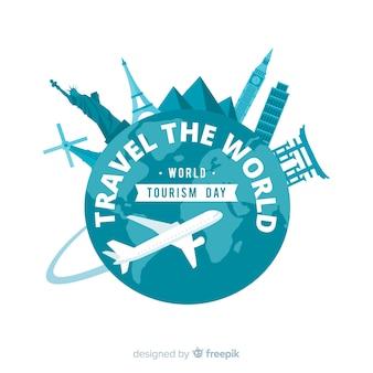 Fondo de día mundial del turismo con mundo y monumentos