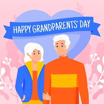 Fondo del día nacional de los abuelos dibujado a mano