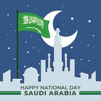 Fondo del día nacional saudí de dibujos animados
