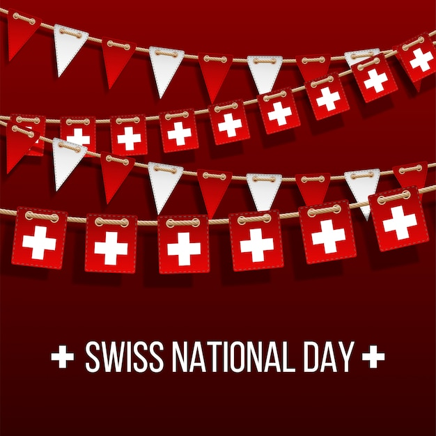 Fondo del día nacional suizo con banderas colgantes. elementos de decoración de vacaciones. guirnalda de banderas rojas y blancas sobre fondo rojo, colgar banderines para plantilla de celebración de suiza