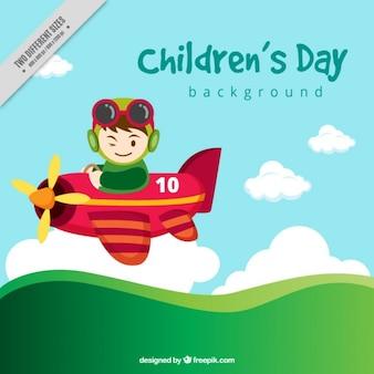 Fondo del día del niño con avioneta