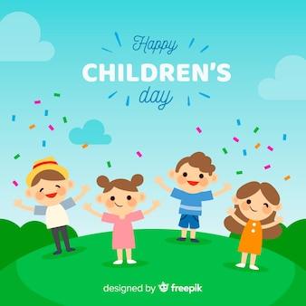 Fondo día del niño confeti plano