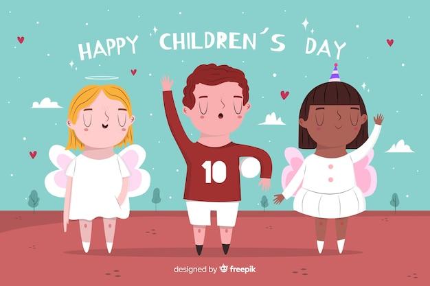 Fondo del día del niño dibujado a mano con niños