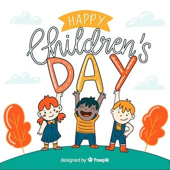 Fondo del día del niño dibujado a mano