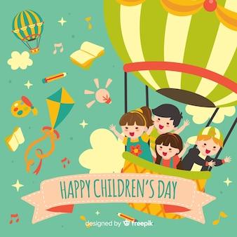 Fondo del día del niño en diseño plano