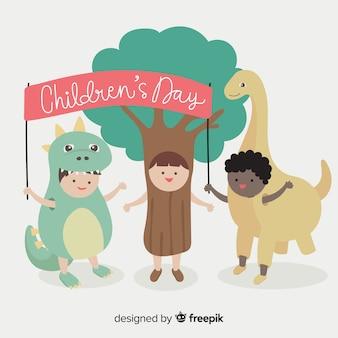 Fondo día del niño disfraces