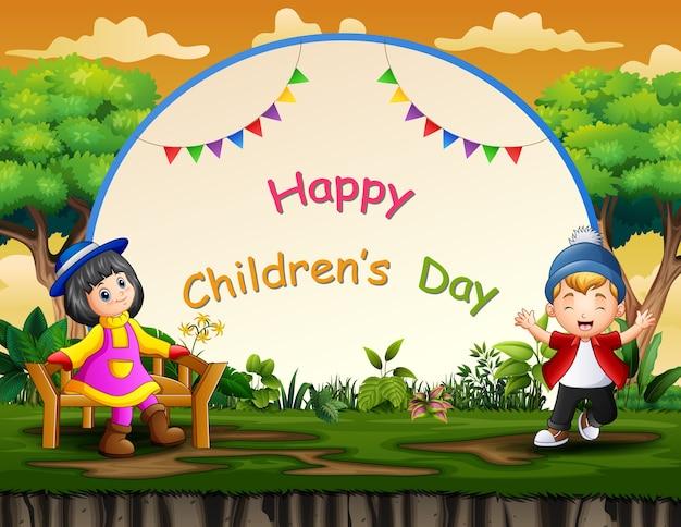 Fondo del día del niño feliz con niños felices
