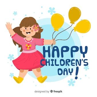 Fondo de día del niño con niña feliz con globos