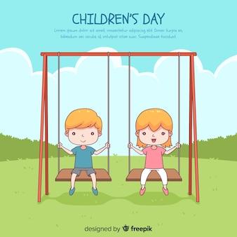 Fondo del día del niño con niños en columpio dibujado a mano