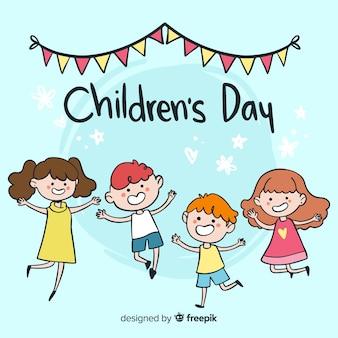 Fondo día del niño niños saltando