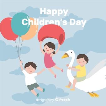 Fondo día del niño niños volando