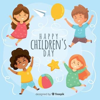 Fondo del día de los niños dibujados a mano