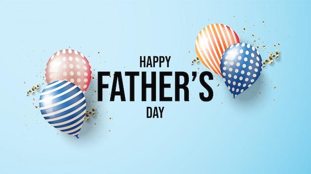 Fondo del día del padre con coloridas ilustraciones de globos 3d.