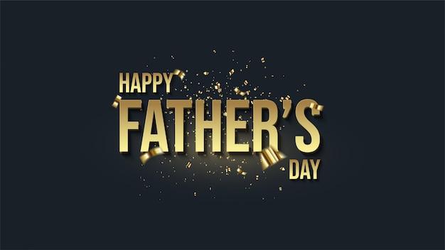 Fondo del día del padre con elegantes ilustraciones de texto 3d de oro.
