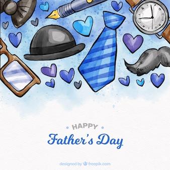 Fondo de día del padre con elementos en estilo acuarela