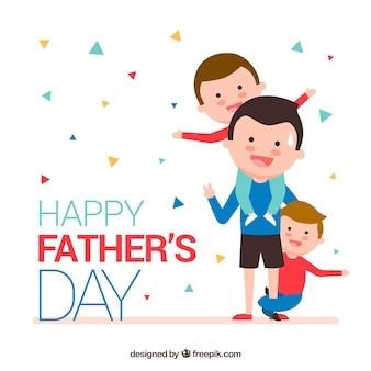 Fondo del día del padre con familia feliz