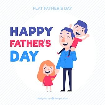 Fondo de día del padre con familia feliz